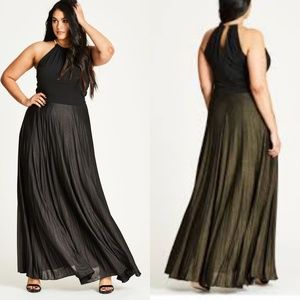 18 City Chic Gunmetal Shimmer Pleated Maxi Dress
